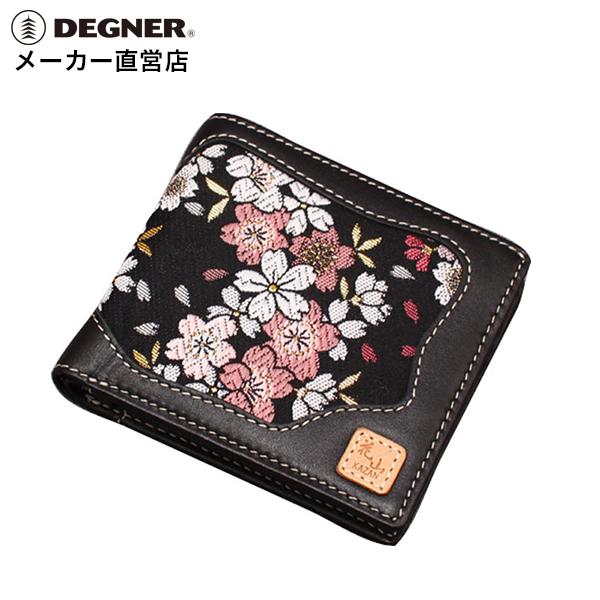 デグナー DEGNER レザーウォレット WV-10K 京桜 ブラック 財布 二つ折り 和柄