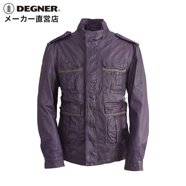ミリタリージャケット M-65スタイル レザー シープレザー パットポケット メンズ ウォッシュ加工ブラック パープル DEGNER デグナー