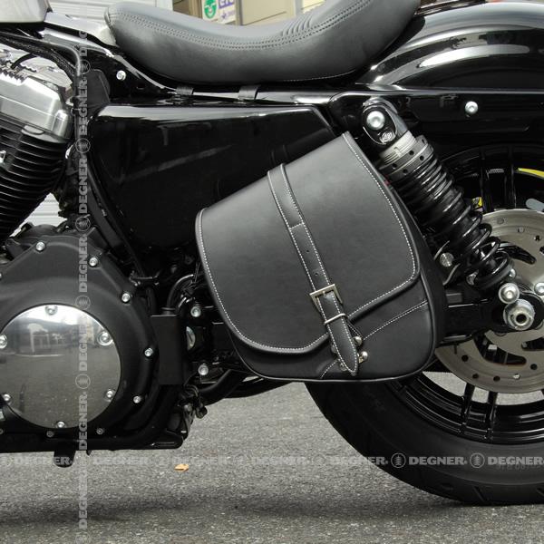送料無料 テキスタイル サイドバック ハーレー アメリカン サイドバッグ バイカーズ バイク 合皮 鉄馬 ナイロン ツーリング サイドバッグ ハーレー サポート付き ボルト付き DEGNER デグナー NB-124(ブラック) 送料無料