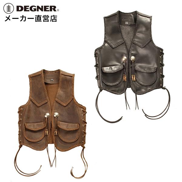 デグナー DEGNER レザーベスト V-12 バイク 本革 ベスト オールド スタイル