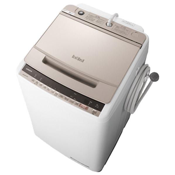 日立 BW-V80E N 8.0kg全自動洗濯機 ビートウォッシュ シャンパン BWV80EN ※配送設置:最寄のエディオン商品センターよりお伺い致します。[※サービスエリア外は別途配送手数料が掛かります]