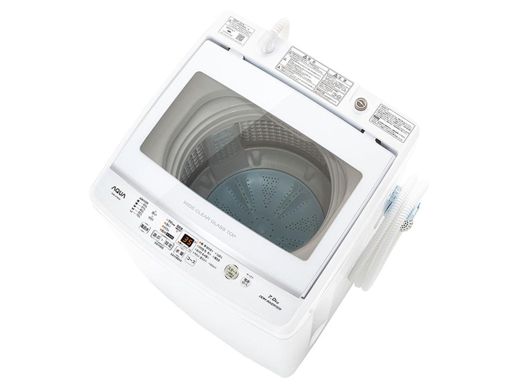 ワイドガラストップ を採用した全自動洗濯機 洗濯容量9.0kg AQUA AQW-V7M 送料無料お手入れ要らず W 7.0kg全自動洗濯機 ●スーパーSALE● セール期間限定 ※配送設置:最寄の商品センターよりお伺い致します AQWV7MW ホワイト ※サービスエリア外は佐川急便にて手配