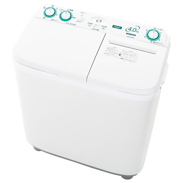 AQUA AQW-N40(W) 4.0kg二槽式洗濯機 ホワイト AQWN40W ※配送設置:最寄のエディオン商品センターよりお伺い致します。[※サービスエリア外は別途配送手数料が掛かります](搬入不可等によるキャンセルは出来ません)