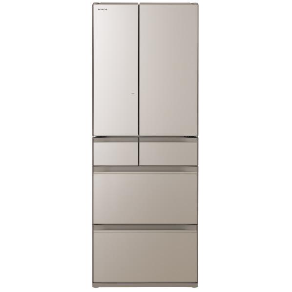 (納期目安:1週間~)日立 R-HW60NXN 602L 6ドアノンフロン冷蔵庫 クリスタルシャンパン [RHW60NXN] ※配送設置:最寄のエディオン商品センターよりお伺い致します。