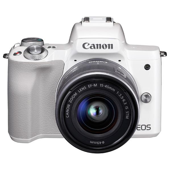 キヤノン デジタル一眼カメラ・EF-M15-45 IS STMレンズキット EOS Kiss M ホワイト KISSMWH1545ISSTMLK