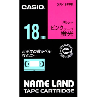 CASIO カシオ NAMELAND ネームランドテープ 爆売りセール開催中 蛍光色タイプ XR18FPK XR-18FPK 幅18mm×長さ5.5m 激安 激安特価 送料無料 黒文字 蛍光ピンクテープ