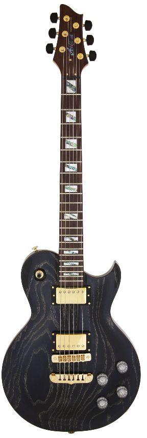 (お取り寄せ)(限定モデル)(特典あり)(日本製) Ariapro2 PE-LUX BKGL(Black/Gold Stained) アリアプロ2 エレキギター *ギグケース付属