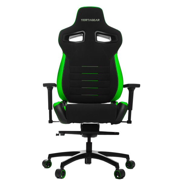 VertaGear VG-PL4500_GR ゲーミングチェア Racing Series P-Line PL4500 Coffee Fiber with Silver Gaming Chair Black&Green [VGPL4500GR]