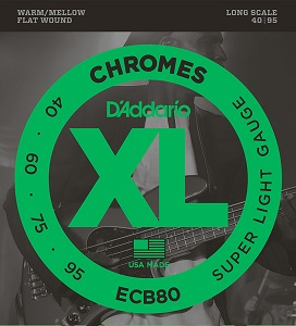 D'Addario ECB80 ダダリオ フラットトワウンドベース弦 Wound XL オンラインショッピング 現品 Chromes Flat