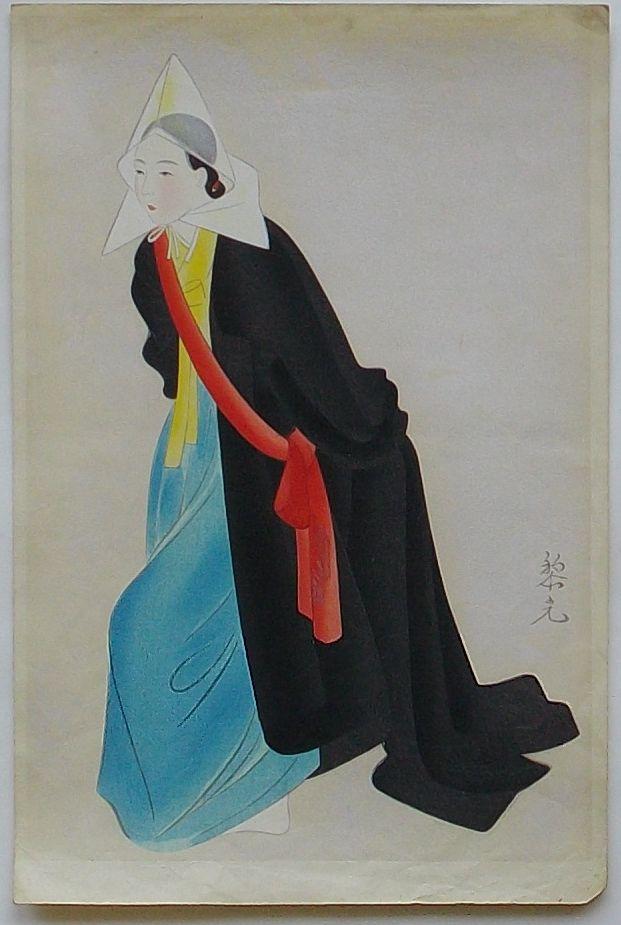 【中古】木版画 朝鮮風俗 妓生の僧舞(仮題)