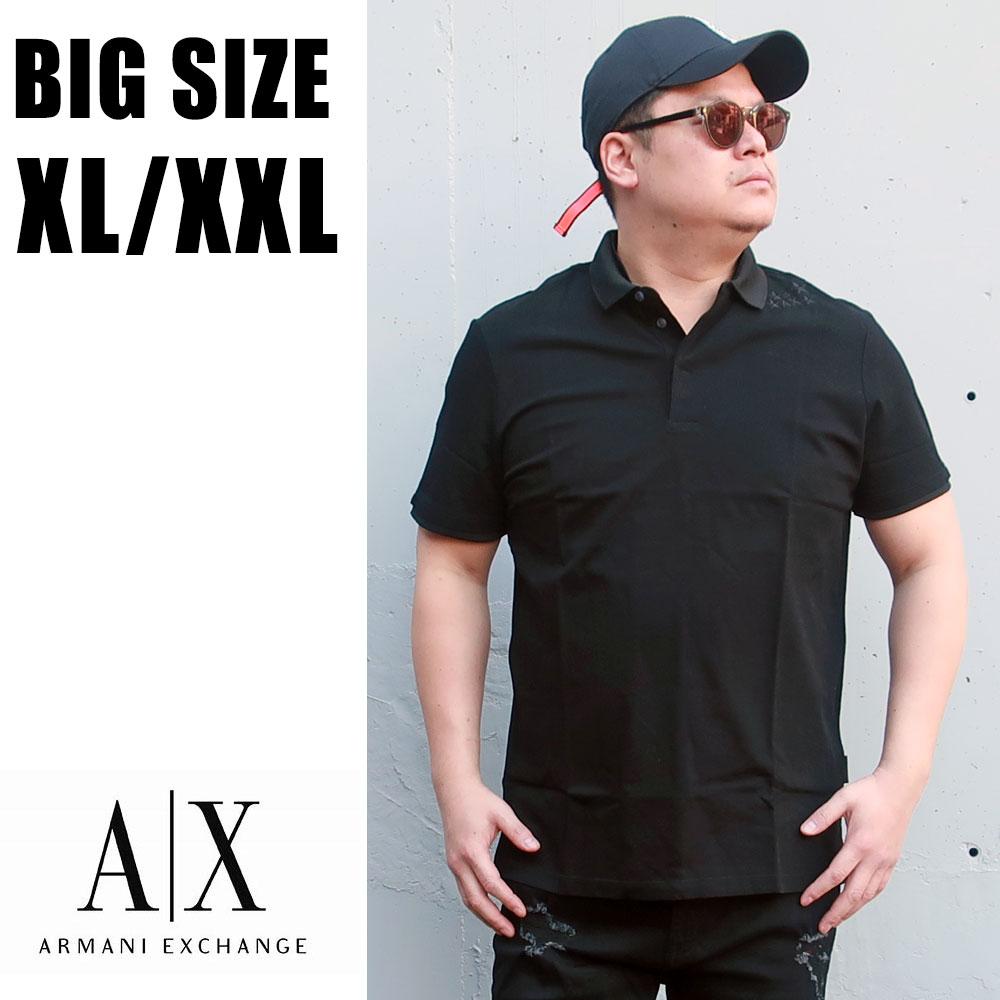 送料無料 メンズ 大きいサイズ ブランド ポロシャツ ARMANI 半袖 XL XXL 2L 3L 黒 ブラック ゴルフ スポーツ ワンポイント 刺繡 星 スター シンプル 大人 30代 40代 50代