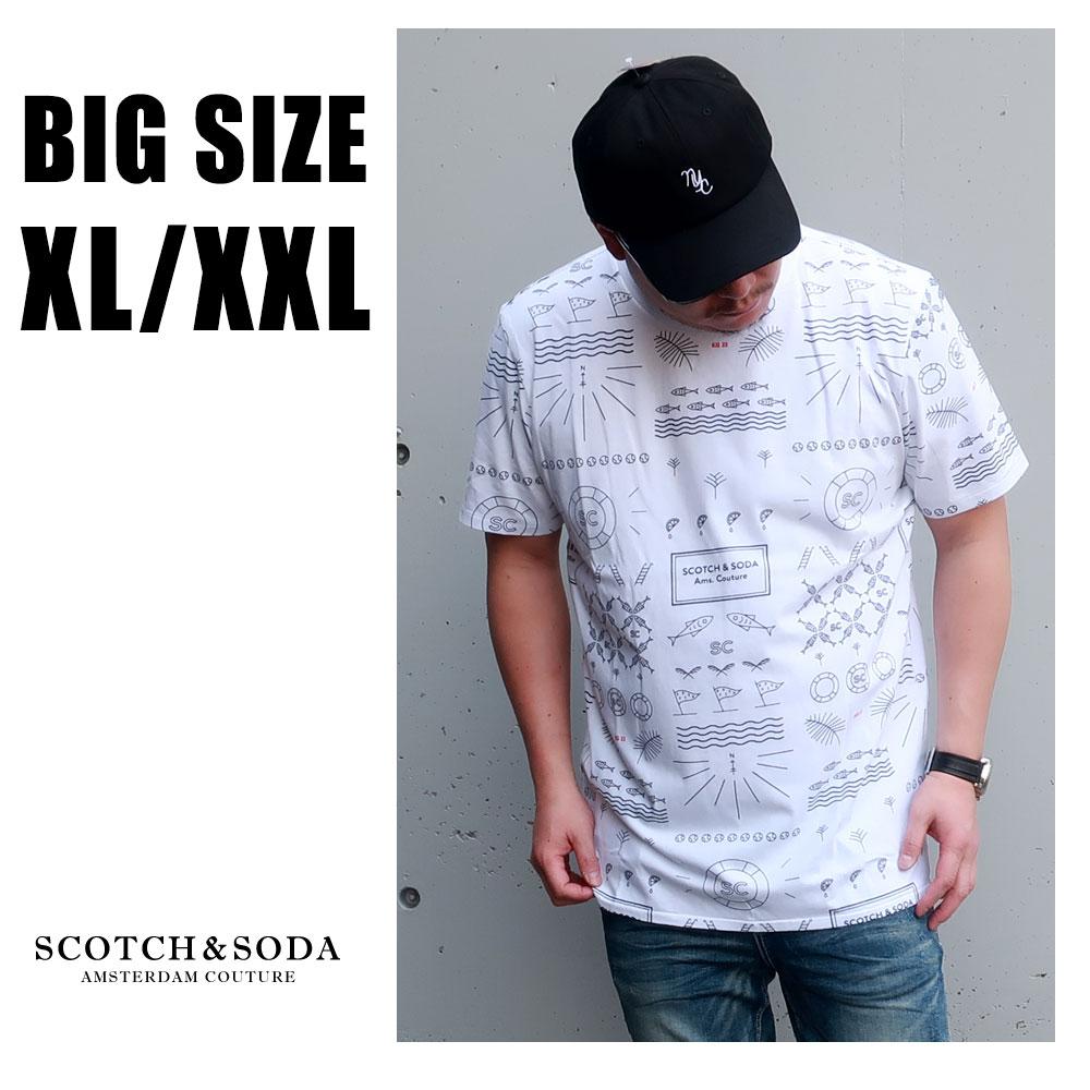 SCOTCH&SODA 送料無料 大きいサイズ メンズ ブランド Tシャツ 半袖 XL XXL 2L 3L 白 ホワイト ロゴ クルー プリント ワンポイント 春 夏 リゾート 大人 30代 40代 50代 スコッチアンドソーダ 292-74459