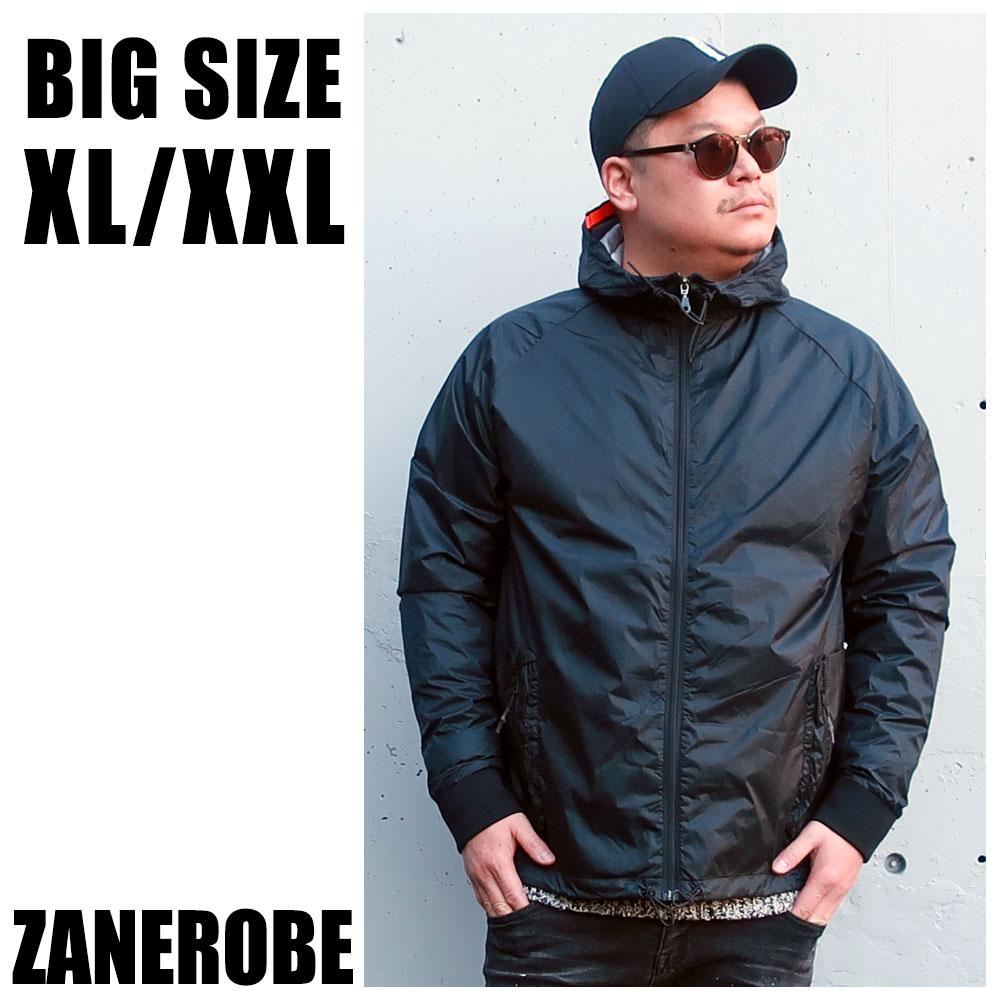 ZANEROBE ゼンローブ 送料無料 大きいサイズ メンズ ブランド アウター パーカー XL XXL 2L 3L 黒 ブラック ナイロン ジップアップ マウンテンパーカー シャカシャカ ビックシルエット スポーツ トレーニング 秋 冬 春 インポート 海外ブランド 国内正規品