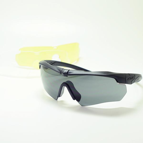 ESSサングラス 交換レンズ3枚組【CROSSBOW】クロスボウミルスペックアイウェア(ブラック/クリア&スモーク&ハイデフイエロー)