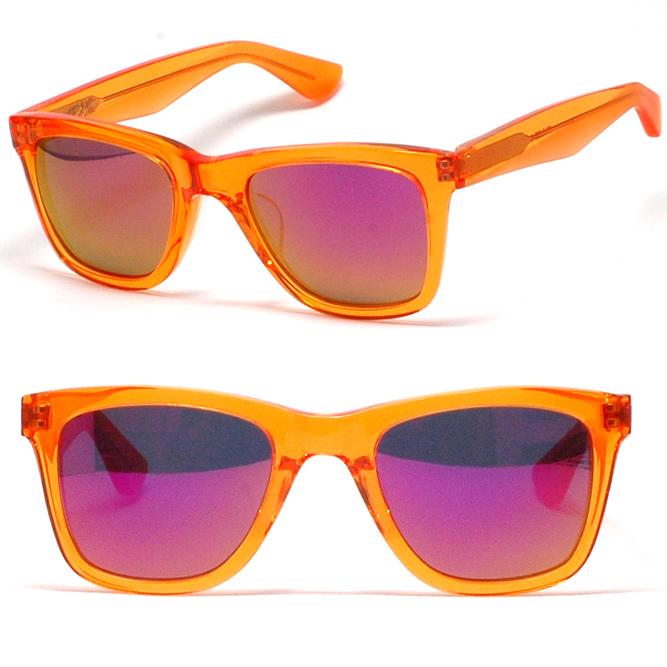 キューブリック【 Qbrick A.D.S.R. 】メガネフレーム【TYLER】(タイラー)ADSR-TYLER-05クリアオレンジ/グレー&ピンクミラーアウトレットSALE価格!!