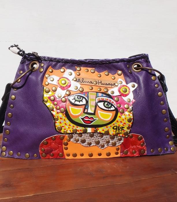 送料無料 牛革バッグ 紫 インポートバッグ 一点物 アルゼンチン製 バッグ Kot3