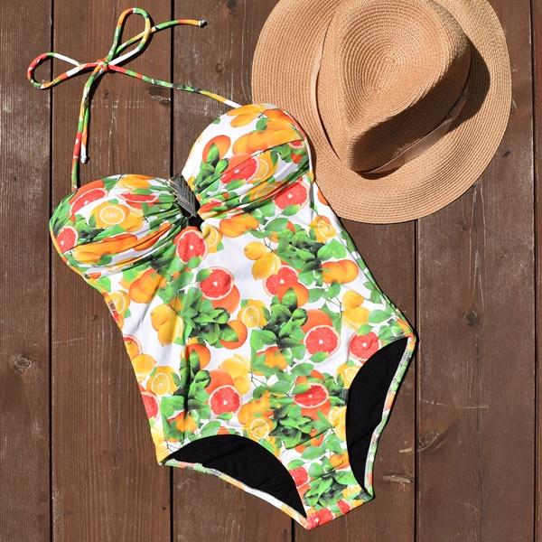 ブラジリアン 水着 体型カバー ワンピース モノキニ ブラジル ブラジリアンビキニ ブラジル製 人気のフルーツ柄!トレンドのワンピース水着! 3naranja