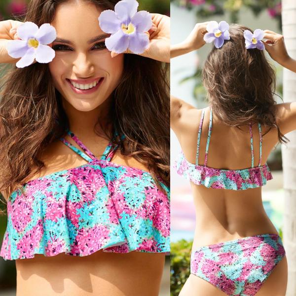 水着 インポート レディース フリル かわいい ブラジリアン ビキニ バンドゥー ブラジリアンカット 体型カバー 花柄 コロンビア製