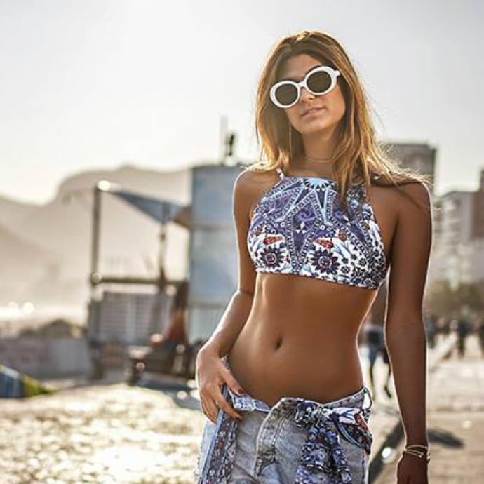 ブラジリアン ビキニ 水着 ハイネック インポート 青 ブラジル製