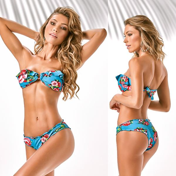 【ブラジル製】 ブラジリアン ビキニ バンドゥー 水着インポート フリルで可愛く体型カバー! ターコイズに花柄がフェミニン!