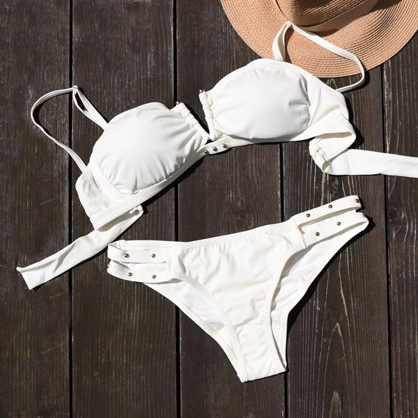 ブラジリアンビキニ バンドゥービキニ 水着 ビキニ bikini リゾート 海外旅行 ビーチ インポート 通販 ビキニ ブラジリアン レディース 大人 黒 白 カーキ