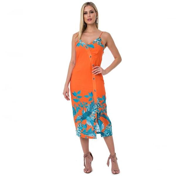 【ブラジル製】 ワンピース 夏 レディース インポート 花柄 リゾート ビーチ カシュクール キャミドレス サマードレス ブラジリアン 【即納】 海外ファッション 直輸入 袖なし おしゃれ 大人可愛い お呼ばれ オレンジ ボタニカル