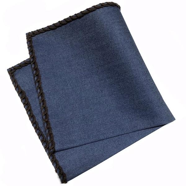 永遠の定番モデル ワンランク上のVゾーン イタリアンハンドメイドポケットチーフ 父の日 父の日ギフト MUNGAI ムンガイ インディゴ×ダークブラウン ウールパイピング チーフ プレゼント 秀逸 国内正規品 ハンドメイド ギフト ポケットチーフ イタリア製