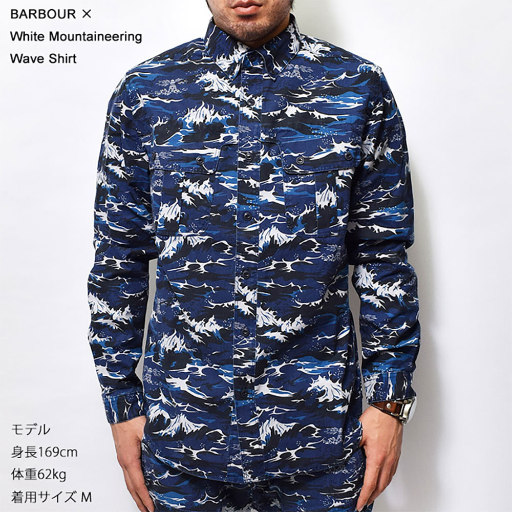 BARBOUR×White Mountaineering(バブアー×ホワイトマウンテニアリング)【MSH3369BL33M】Wave ShirtBlueウェーブシャツ