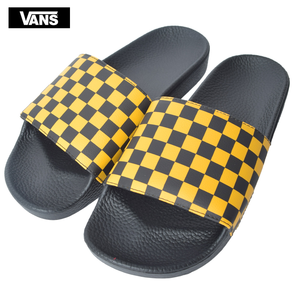VANS MENS vans station wagons men SLIDE ON (Checkerboard) BlackMango Mojito slide piggyback rack yellow men sandal checker flag