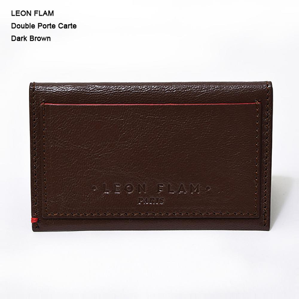 【特別価格!!】LEON FLAM レオンフラムDOUBLE PORTE CARTE DARK BROWNカードケース