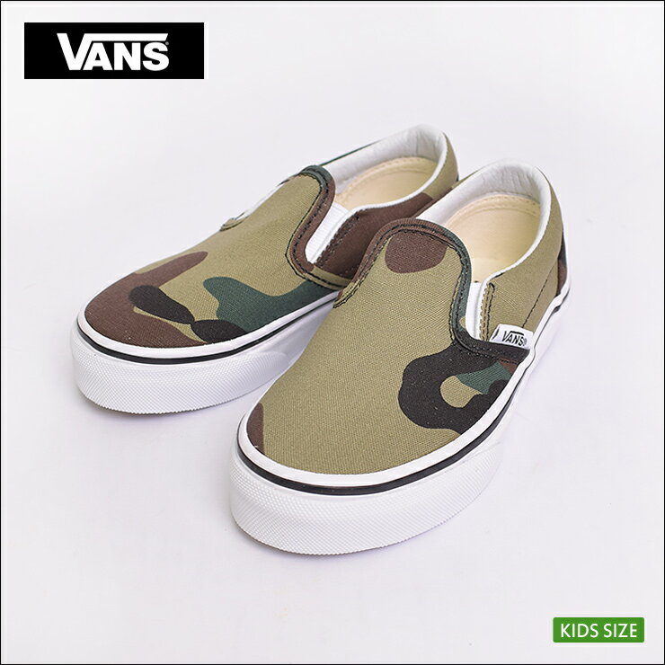 VANS KIDS FA '18 vans kids CLASSIC SLIP ON (Woodland Camo) BlackWoodland classical music slip ons Woodland duck black child sneakers shoes