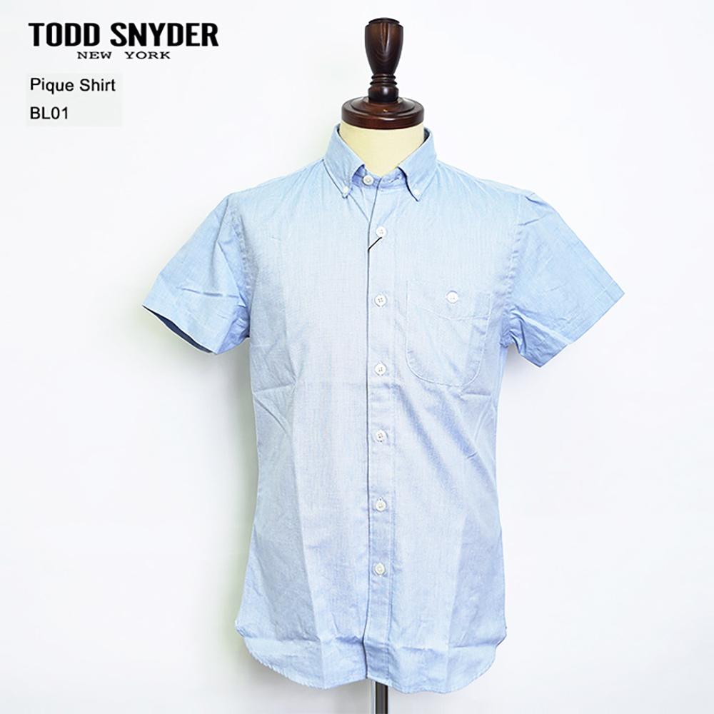 TODD SNYDER トッドスナイダー【SH117064】SS pique ShirtBL01Blueショートスリーブ ピケ シャツメンズ 半袖 シャツSP'17