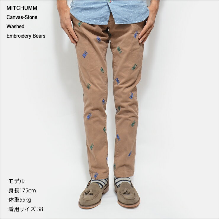 MITCHUMM(ミッチュム)FW'14Canvas-Stone Washed Embroidery Bearsパンツ