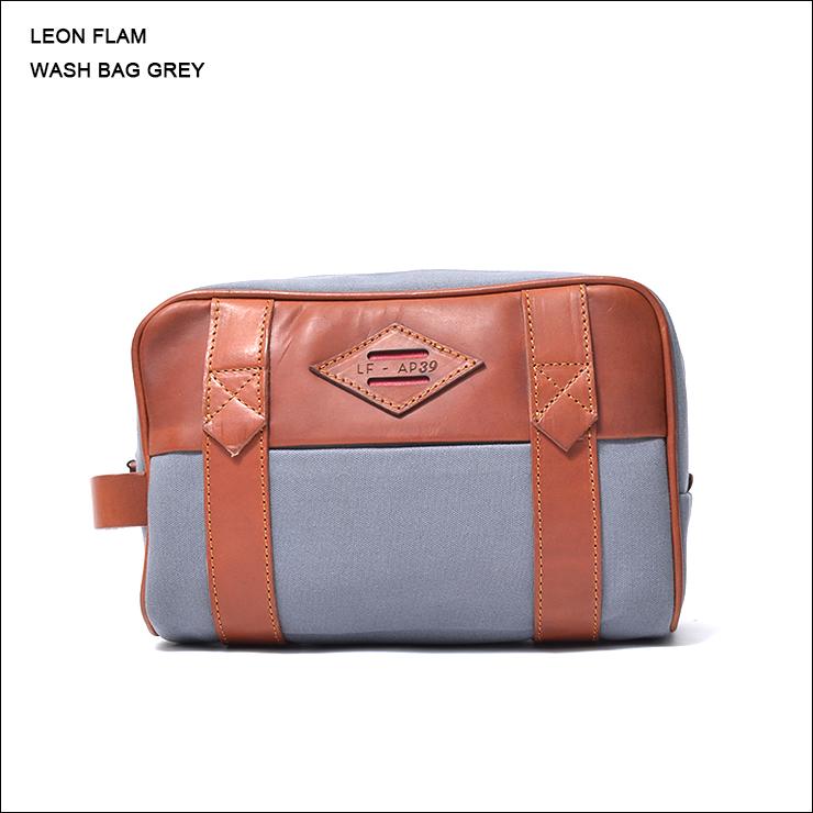 LEON FLAM レオンフラムWASH BAG GREYウォッシュバッグ