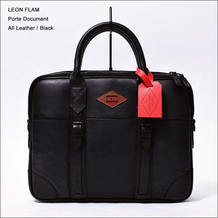 LEON FLAM レオンフラムPORTE DOCUMENT ALL BALCK (ALL LEATHER)ブリーフケース