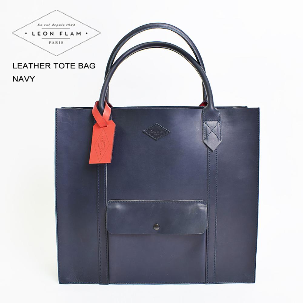LEON FLAMレオンフラムLEATHER TOTE BAG NAVYレザートートバッグ ネイビーメンズバッグ 鞄