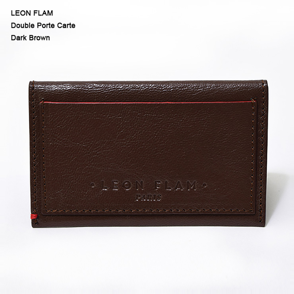 LEON FLAM レオンフラムDOUBLE PORTE CARTE DARK BROWNカードケース