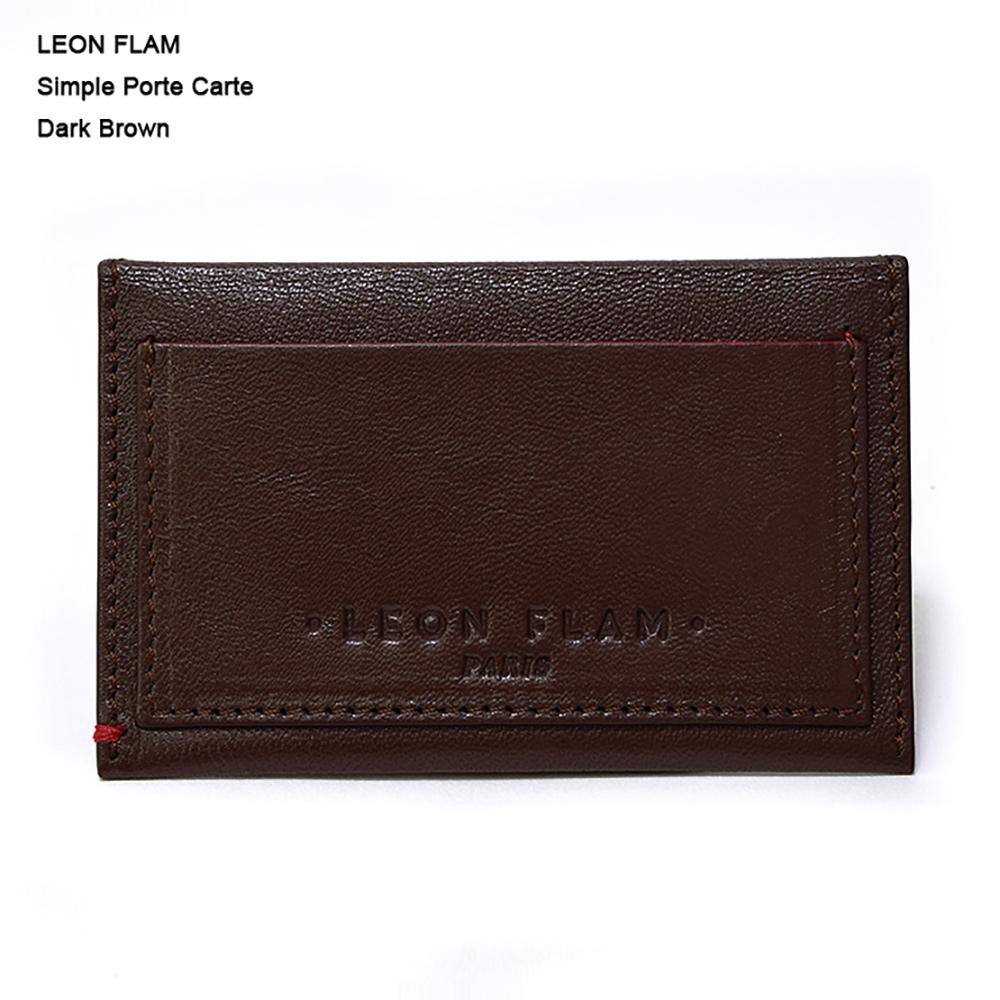 LEON FLAM レオンフラムSIMPLE PORTE CARTE DARK BROWNカードケース