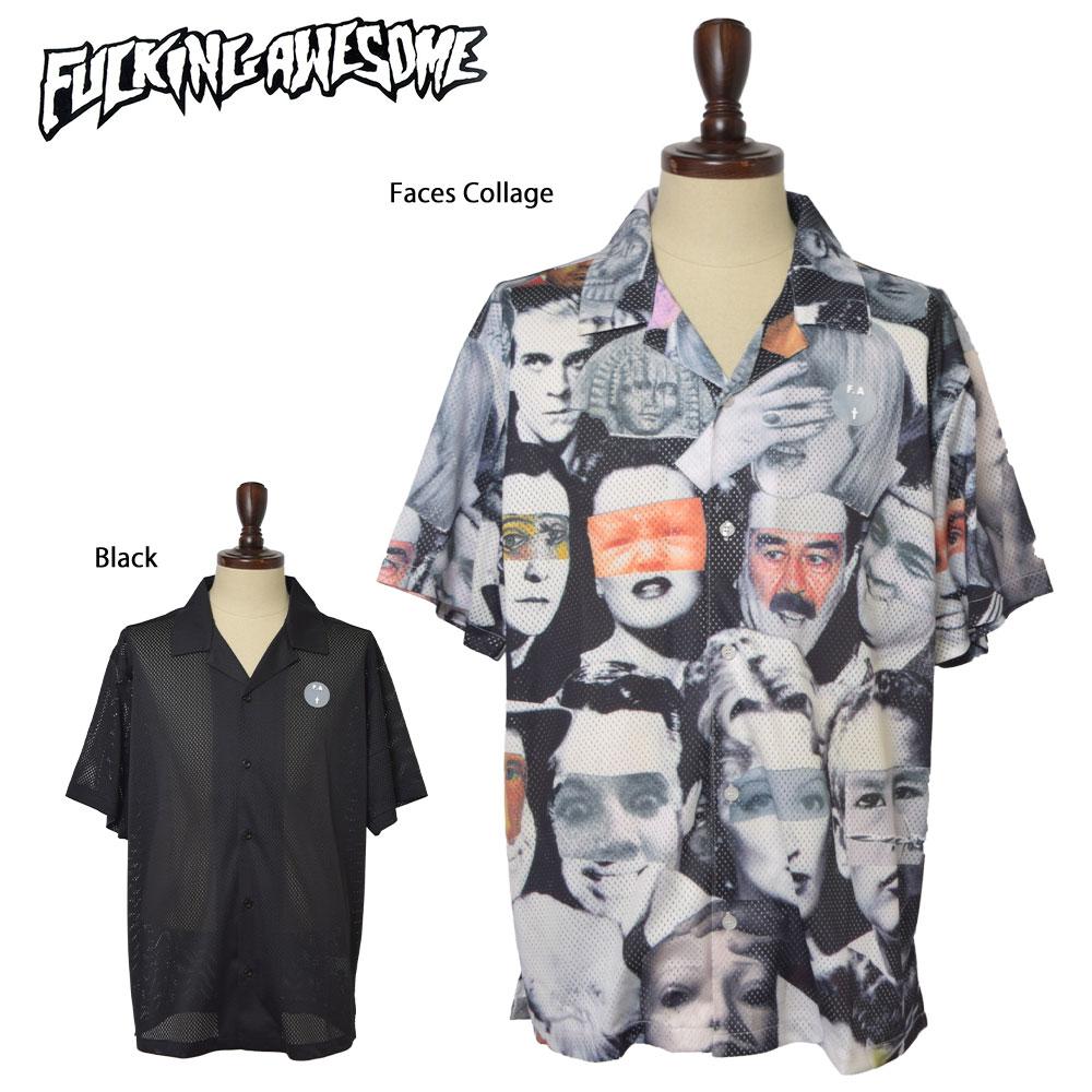 Fucking AwesomeファッキンオーサムJersey Mesh Club ShirtBlack / Faces Collageブラック フェイスコラージュメンズ 半袖シャツ シャツ 顔 プリント