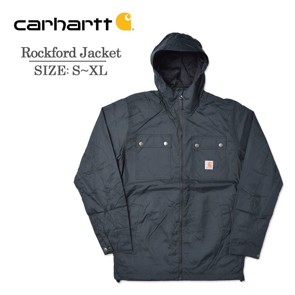 CARHARTTカーハート【100247】ROCKFORD JACKETロックフォードジャケットメンズ BLACK ブラック コート ジャケット アウター フード ストリート