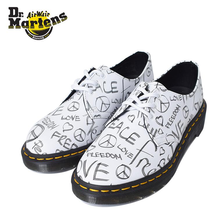 DR.MARTENS【ドクターマーチン】R24434101(1461/BACKHAND)SCRIPT PRINT WHITE On BLACKWOMENS LADYS 女性用 レディース 靴 シューズ プリント