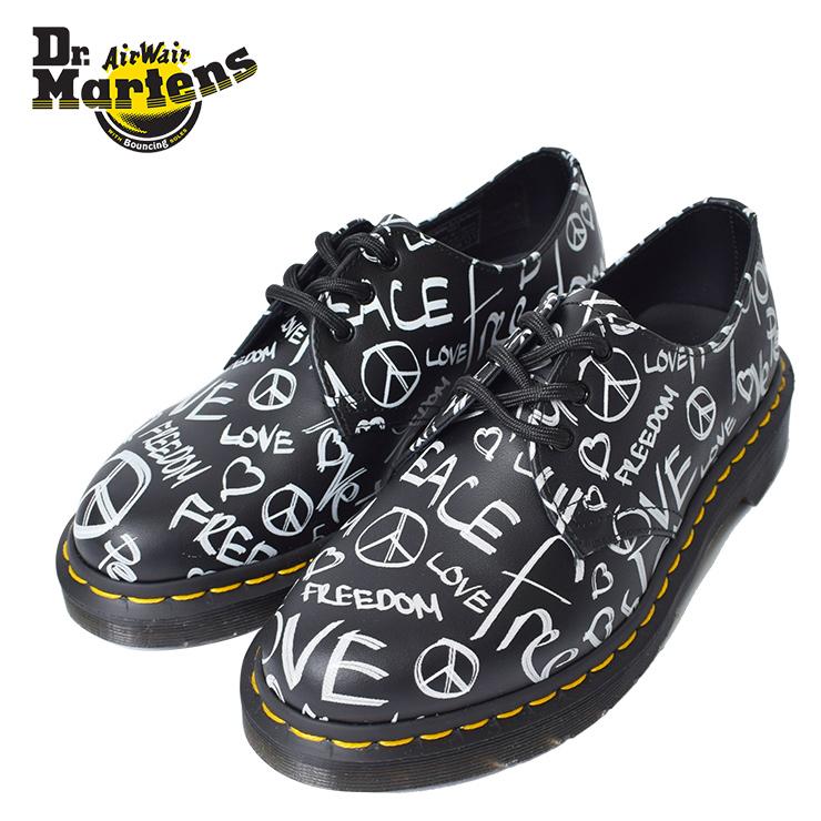 DR.MARTENS【ドクターマーチン】R24434009(1461/BACKHAND)SCRIPT PRINT BLACK On WHITEWOMENS LADYS 女性用 レディース 靴 シューズ プリント