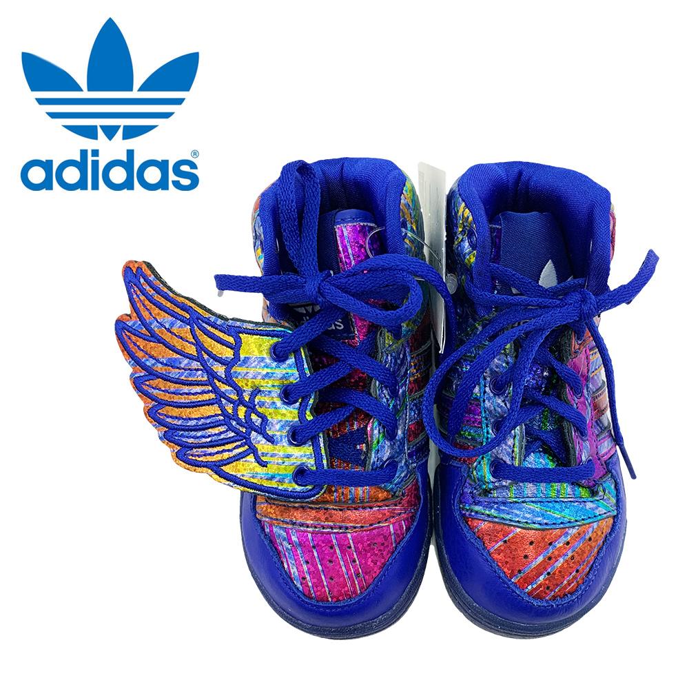 ワケあり-38adidas TODOLLERアディダス トドラー【Q35467】JS WINGS 1キッズ 幼児用 靴レインボー 羽 ウイング ブルー blue
