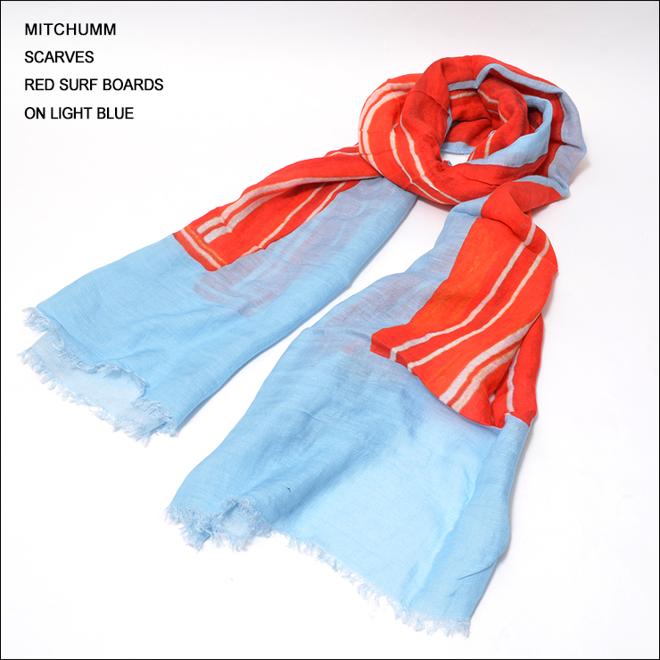 MITCHUMM(ミッチュム)Red Surf Boards on Light Blue Scarvesサーフボード柄スカーフ