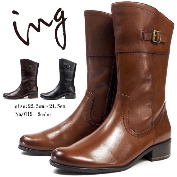 【大特価/即納】 イング ing ショートブーツ 0119 レディース 本革 ブーツ サイドファスナー 太めヒール 3.5cmヒール
