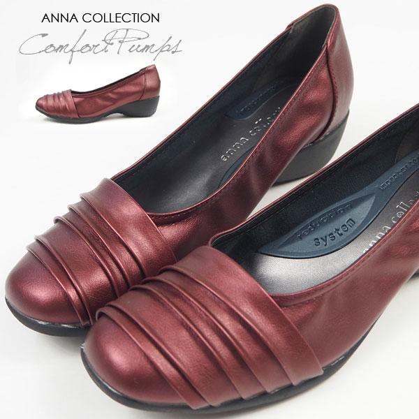 パンプス レディース ANNA COLLECTION アンナコレクション 941 カッターパンプス プリーツ スクエアトゥ