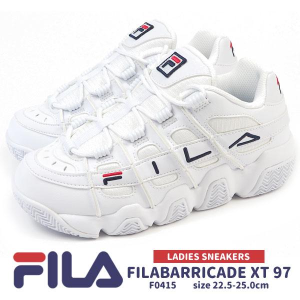 フィラ FILA スニーカー FILABARRICADE XT 97 フィラバリケード XT 97 F0415 0125 レディース 白スニーカー ボリュームシューズ ロゴマーク 厚底 カジュアル 軽量 ジュニア
