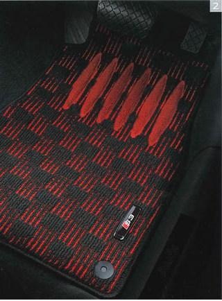 Audi純正 アウディ A3純正 フロアマット スポーツ J8VBM5R14SPBR4 ブラック&レッド