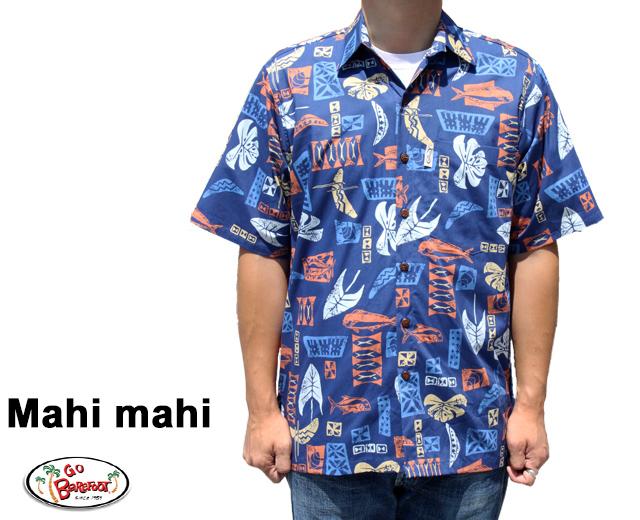 Go Barefoot ゴーベアフット アロハシャツ マヒマヒ USA製 Mahi mahi 青 ブルー