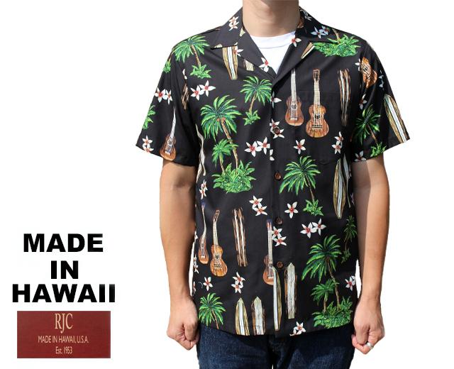 RJC ロバート・J・クランシー アロハシャツ ウクレレ&サーフボード&パームツリー ハワイ製 黒 ブラック
